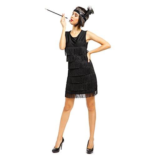 eid Flapper Kleid Club Latein Tanz kleid Partykleid Minikleid Cocktailkleid Charleston Kostuem Kleid (L) (20er Jahre Kleid Schwarz)