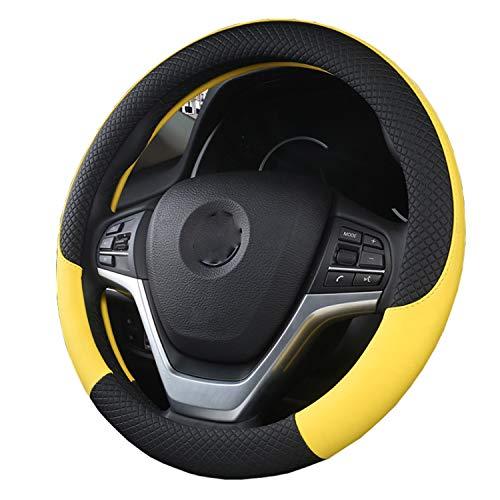 Coprivolante Coprivolante per auto in pelle sintetica per uomo e donna Universale da 15 pollici Accessorio automobilistico (Color : Black orange)