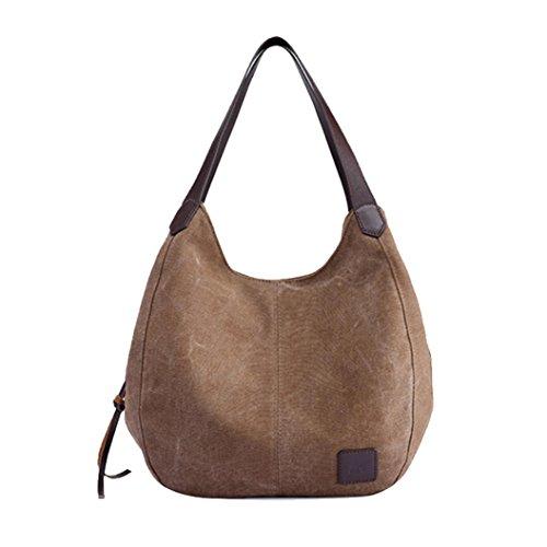 d Handtaschen Vintage hohe Qualität weibliche einzelne Umhängetaschen Damen Umhängetasche Damen Henkeltasche Schultertasche Umhängetasche Leichte Schultertasche (Coffee) (Graue Tote Bag)