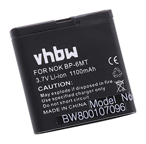 vhbw Li-Ion Akku 1100mAh (3.7V) für Handy Telefon Smartphone Nokia E51, N78, N81, N81 8GB, N82 wie BP-6MT, BL-6MT. N78 Smartphone