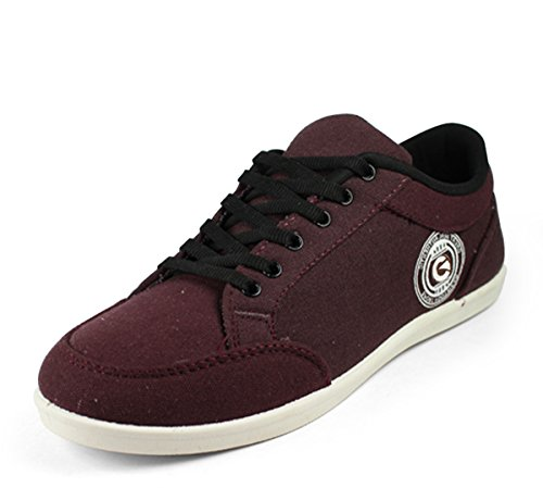 Globalite Men's Wine PU canvas shoes -UK 9 (GSC0441)  available at amazon for Rs.299