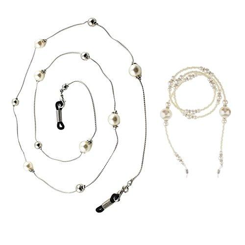 P Prettyia 2x Bunte Perle Brille Sonnenbrille Kette Halter Halskette Lanyard 78cm für Damen