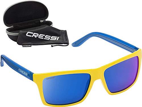 Cressi Rio Sunglasses Sport Sonnenbrille Linsen polarisiert und Antireflexion Sorgen für 100% igen Schutz vor UV-Strahlen, Gelb Spiegel Blau, Einheitsgröße