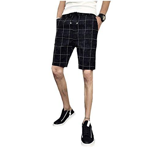 Tootlessly-Men Straight-Fit Classic Plaid Drawstring Soft Bermuda Shorts