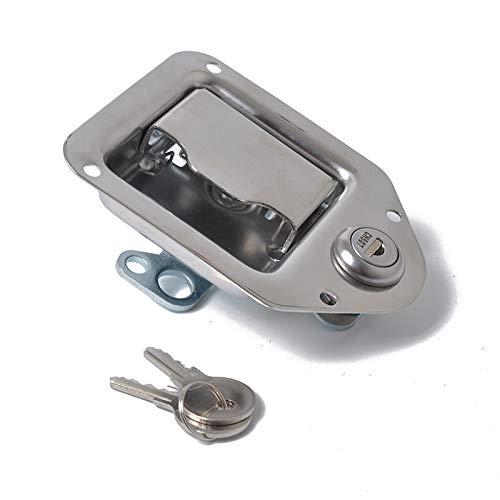 XuBa Paddel Türschloss Edelstahl Latch 110x83MM Griff LKW Werkzeugkasten Anhänger mit Schlüssel