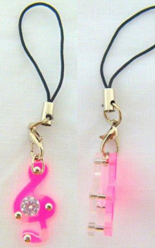 Musica a tema rosa Chiave di violino con Diamante Phone Strap / Dangly fascino del telefono