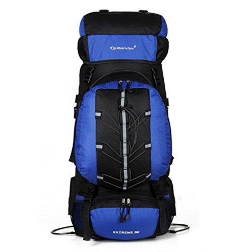 YAAGLE 80L Outdoor Trekkingrucksack Reiserucksack Rucksack mit entfernbare kleine Tasche 70L+10L Camping / Wandern Rücksack 38*20*73 CM blau