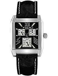 FOCE Black Square Analog Wrist Watch for Men with Black Genuine Leather Strap - F971GS-BLACK