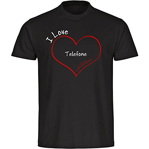 Image of T-Shirt Crew Neck Short Sleeve Modern I Love Phones Black Men Size S to 5XL Black black Size:XXXXXL