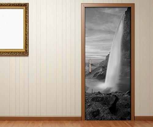 Türaufkleber Wasserfall Island schöne Landschaft schwarz weiß Tür Bild Türposter Türfolie Türtapete Poster Aufkleber 15A1875, Türgrösse:90cmx200cm -