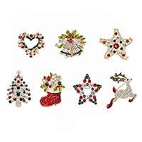 Ongwish 7 Pack Elegant Retro Crystal Rhinestone Christmas Brooch Pin, Xmas Brooch Pendant Charm Gifts for Women Girls