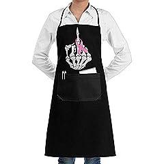 Idea Regalo - RP Amazing Grembiule da Cameriere,Grembiule al Seno Scheletro Dito Medio Nastro Moda Grembiuli da Cucina Freschi per Ristorante Hotel Cooking Baking 52x72cm