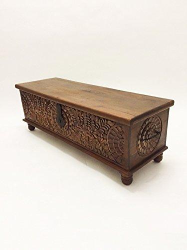 Orientalische Truhe Kiste aus Holz Ghotam 120cm groß | Vintage Sitzbank mit Aufbewahrung für den...