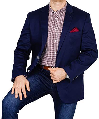 bonprix Herren Sakko untersetzt Comfort Fit Baumwoll-Mix Übergröße Blazer Zweiknopf Jackett Anzug Langgröße bequem Spezialgröße, Größe 27, dunkelblau - Leinen-einreiher Sakko