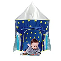 HEIRAO Folding Children Play Tent, Star Rocket Castle Projection Rocket Ship Play Tent, Ocean Game Ball Pool for Boys and Girls