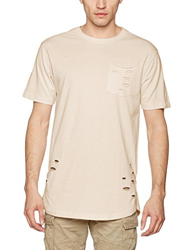 Urban Classic Herren T-Shirt Ripped Pocket Tee Elfenbein (sand 208)