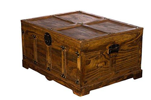 BS 21305 ECHTHOLZ MASSIV schwere stabile Truhe, Holztruhe, Schatzkiste,Kiste, Piratenkiste, Kleinmöbel, Mit Metallbeschlägen, Antikoptik, Holz, verschieden Größen, Maritim, Deko, Hochwertig, Kolonialtruhe, Kolonialstil, Holzbox, Truhe mit Ornamenten . Gr. M bis XXL (Größe XL ( 60cm B x 31cm H x 47cm T )) -