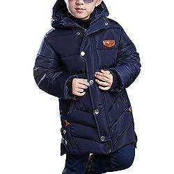 OCHENTA Chicos Abrigos Chaquetas Otoño de invierno Caliente Capucha Ropa para niños Azul marino Etiqueta 120cm (5-6años)