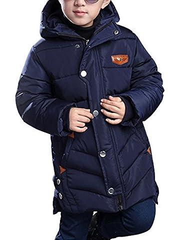 OCHENTA Garçon Manteau Blouson Hiver Automne Chaud Capuche Zip Vêtement Enfant Bleu Marin Etiquette 140cm