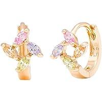Romantico tempo da donna fiori colorati Windmill orecchini a cerchio placcati oro rosa 18K