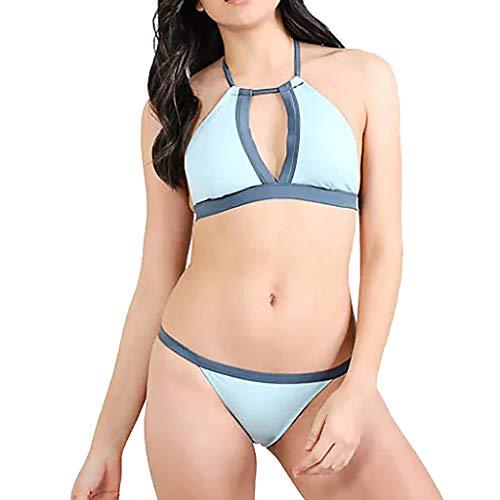 LEEDY Trajes de baño Bikini Mujer Traje de baño de Dos Piezas Sujetador Ropa de Playa Conjuntos de Dos Piezas cosiendo cuelga Sexy Traje de baño Dividido