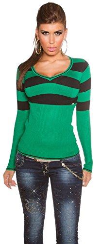 Koucla - Pull rayé à col V - Femme - Taille unique (34-40) Vert