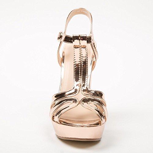 Ideal-Shoes Sandali con piattaforma Omega brillanti Oro (Champagne)