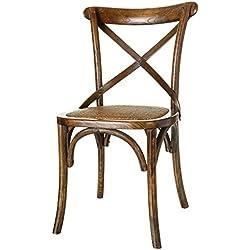 Silla de comedor vintage marrón de madera para salón Bretaña - Lola Derek