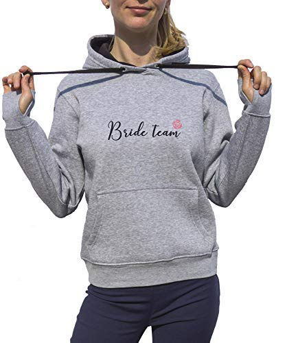 KrisTalas Sudadera con Capucha Mujer Bride Team Hen Party Pink Rose Gris Large