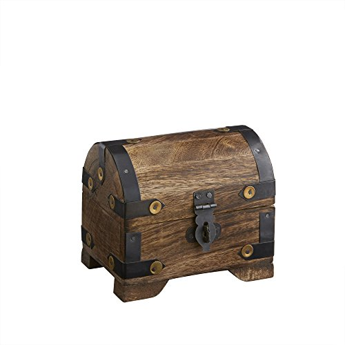 Holztruhe - Bauernkasse - Schatztruhe - Schmuckkästchen - Spardose - Aufbewahrungsbox aus Holz - KLEIN - 10 cm x 7 cm x 8,5 cm (DUNKEL - KLEIN) -