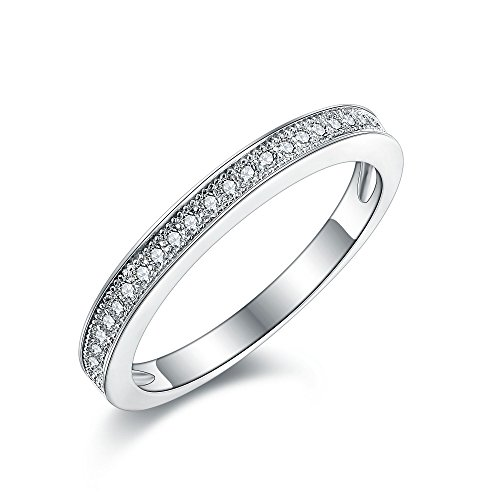 Women's Milgrain-Pave Set Sterling Silver Ring. Vintage Style Half Eternity Wedding Anniversary Band Ring with Simulated Diamonds. 925 Stamped. (52 (16.6))