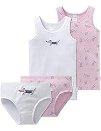 4d4df1884f Schiesser Mädchen - 4-teiliges Unterwäsche Set Unterhemd + Slip aus der  Serie Puppy Love