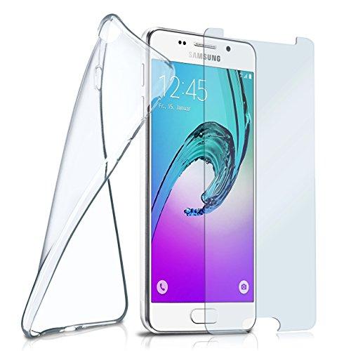 moex Silikon-Hülle für Samsung Galaxy A5 (2016) | + Panzerglas Set [360 Grad] Glas Schutz-Folie mit Back-Cover Transparent Handy-Hülle Samsung Galaxy A5 2016 Case Slim Schutzhülle Panzerfolie