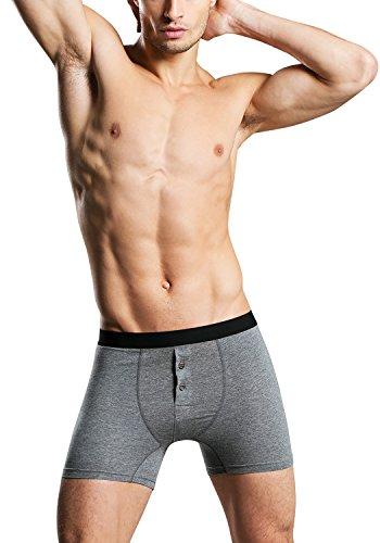 Dolamen Herren Boxershorts Baumwolle, 2 Stück Mens Unterhosen Underwear Schlafanzughose Nachtwäsche Trunk Unterwäsche Boxer Briefs Webboxer Shorts Retroshorts (Medium, Grau) (Boxer-shorts-unterwäsche-nachtwäsche)
