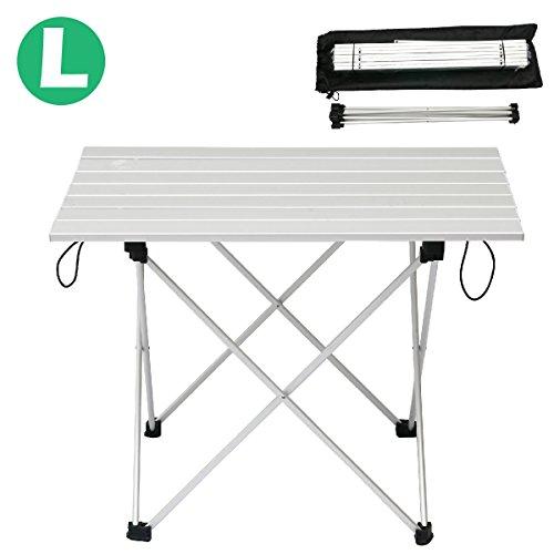 Triwonder Ultralight Aluminium Folding Camping Tabelle zusammenklappbar tragbare Roll-Up für Outdoor, Camping, Picknick, BBQ, Strand, Angeln (Silber - L (21,93 'x 15,94'))