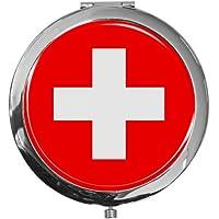 """metALUm - Extragroße Pillendose in runder Form""""Flagge Schweiz"""" preisvergleich bei billige-tabletten.eu"""