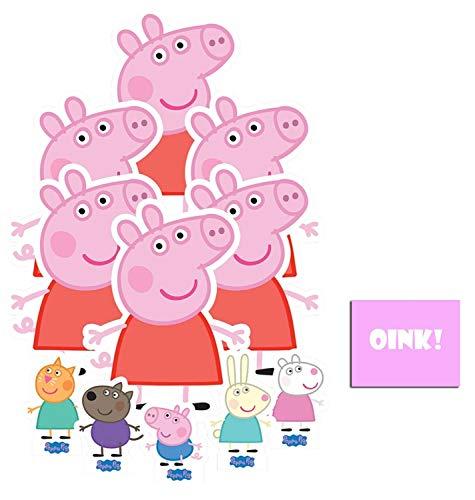 Peppa Pig Tischdeko Carton Party Packung mit 11 Stück (beinhaltet Peppa Pig, George Pig, Mini Candy Cat, Mini Danny Dog, Mini Rebecca Rabbit und Mini Suzy Sheep Enthält 6X4 (15X10cm) starfoto (Promi Ausschnitte Pappe)