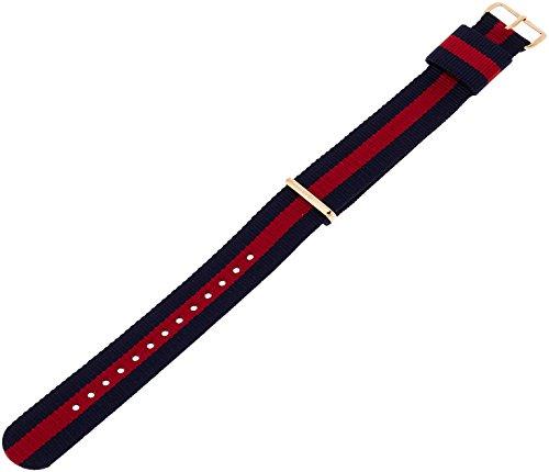Daniel Wellington Herren Uhren-Armband Classic Oxford Natostrap blau rot Schliesse roségold DW002000