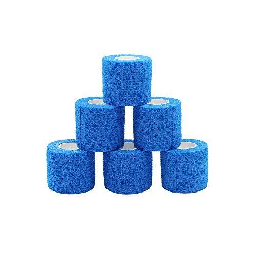 Fuluning Cohesive Bandage Adhesive Bandage Roll Flexible Bandage Non-Woven Cohesive Athletic Tape Blue 5cm Pack of 6 Rolls