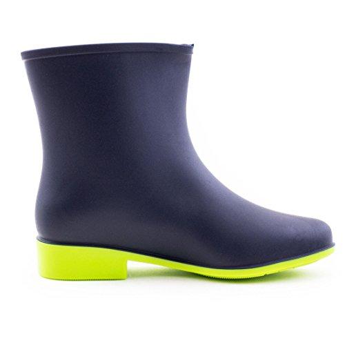Stylische Damen Fashion Schlupf Gummistiefel Stiefeletten Garten Regen Schuhe Blau/Grün