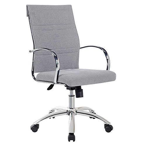 Silla de escritorio para despacho modelo MILLER Elegance color gris ceniza - Sedutahome