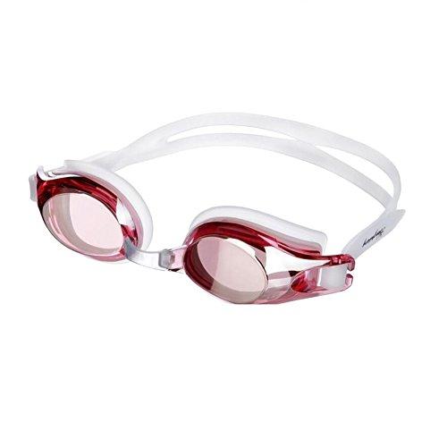 Sunny Honey Erwachsene Jugendliche Schwimmen-Schutzbrillen, Die HD Wasserdichte Anti-Fog Unisexwasser-Sport-Ausrüstung Galvanisieren (Farbe : Rot)
