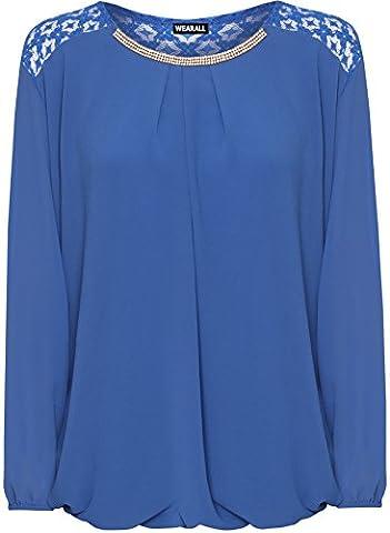 WearAll Women's Plus Lace Insert Chiffon Sheer Diamante Longsleeve Bubble Hem Ladies Top - Royal Blue -