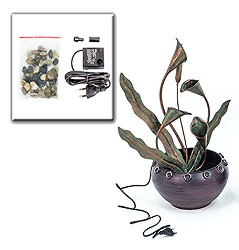 Zimmerbrunnen Metall Pflanzen Topf - Kupfer Blumen Brunnen Design Feng Shui von Haus der Herzen ®
