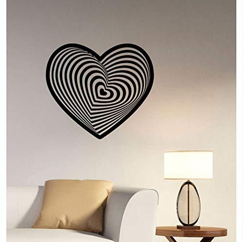 Olivialulu Visuelle Illusion Liebe Wandtattoo Abstrakte Romantische Logo Vinyl Aufkleber Art Deco Home Schlafzimmer Valentine Dekoration Sj09 64 * 57 Cm Größe Farbe Kann Angepasst Werden