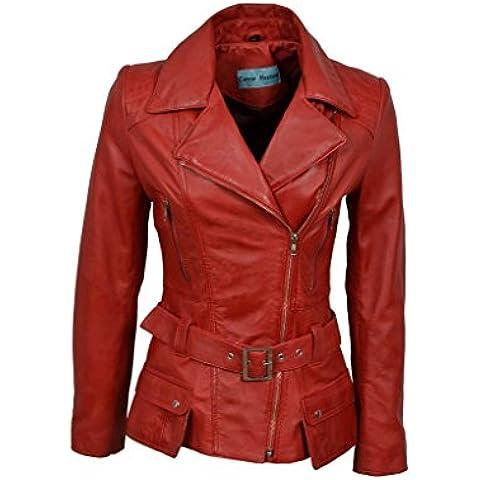 Diseñador de las señoras de cuero retro femenino largo rojo Chaqueta de motorista