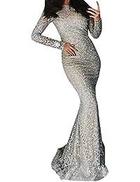 614c637f3 LANSKRLSP Elegante Vestito Dorato Lustrini Cerimonia Vestiti da Cerimonia  Corti Le Donne Sexy Moda Maniche Lunghe