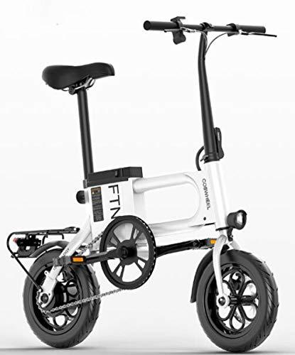 Hold E-Bikes 12-Zoll-Elektro-Klapprad Faltbares, sicheres und verstellbares Fahrrad mit Lithium-Batterie für Erwachsene und Jugendliche@Weiß_8Ah