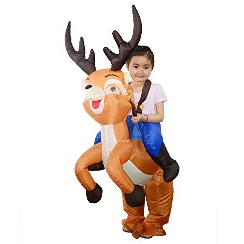 SEN Divertida Forma de Ciervo Inflable Ropa de equitación Cosplay Blowup Disfraz para niño marrón