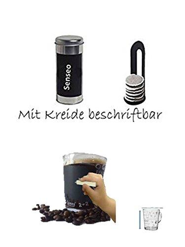 James Premium Kaffeepaddose 18 Pads - Neu beschriftbar mit Kreide + Padheber + Glasbecher mit Henkel